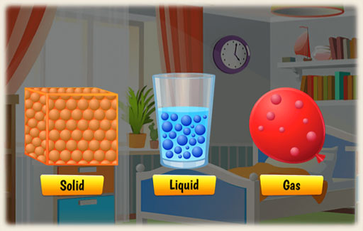Identify the shared characteristics (of matter) in objects that exist in different states at room temperature.