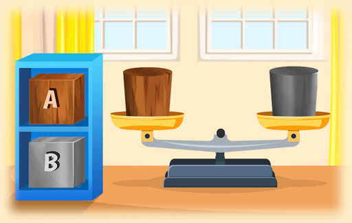 Recognise, from pictures resembling a beam balance and two objects being compared, that ONLY the mass of these objects can be studied in this setup (not their volumes, densities, sizes or other physical properties).