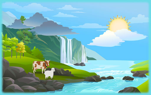 Identify, on a picture of the water cycle, the different physical states of water in each part of the cycle.