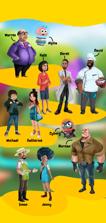 All the characters of STEAMValley game