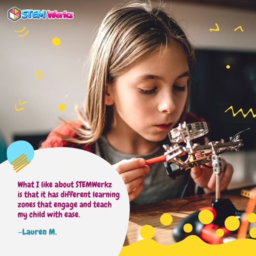What I like about STEMWerkz is that it has different learning zones that engage and teach my child with ease.